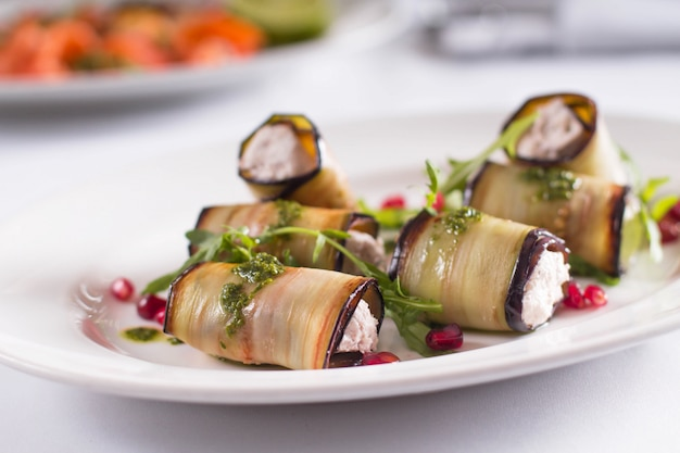 Eggplant rolls with cottage cheese and herbs