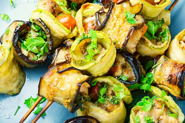 Eggplant with meat on skewers