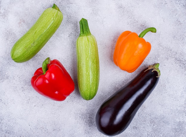Eggplant, zucchini and bell pepper
