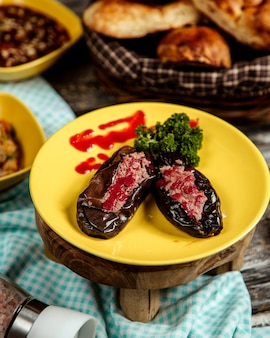 Eggplants with meat  side view