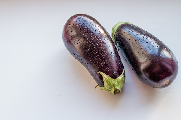 Eggplants with water drops