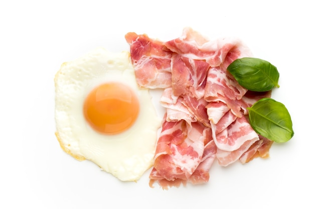 Eggs and baconon on the isolated background.
