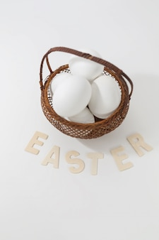 Eggs in a basket with