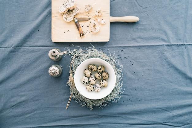 Eggs in beautiful arrangement on blue