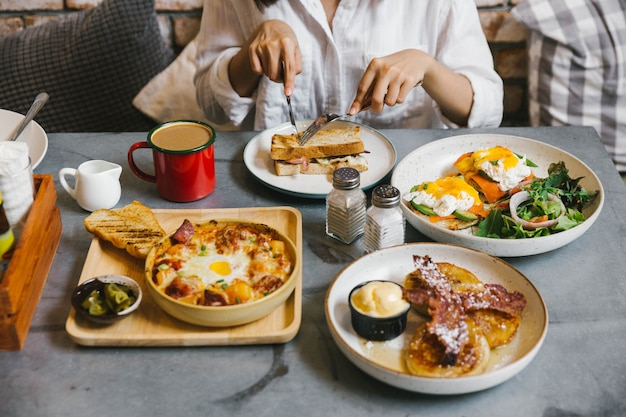 Eggs benedict, crispy bacon stuffed french toast