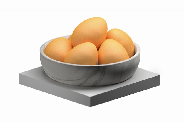 Eggs in a bowl isolated