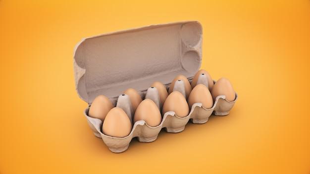 Eggs in box 3d rendering