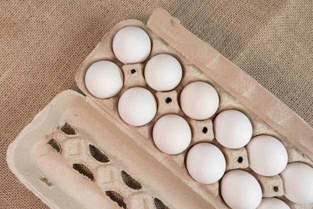Eggs on the brown surface