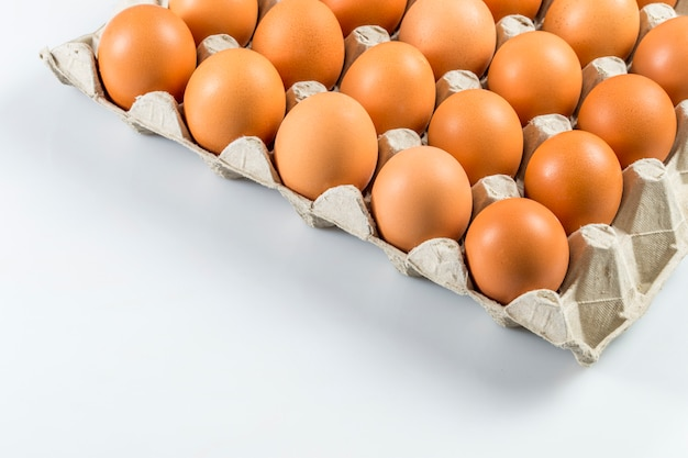 Eggs from the store in the tray