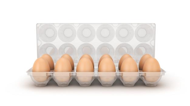 상자 3d 렌더링에 계란