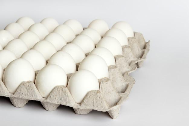 흰색 바탕에 판지 패키지에 계란입니다.