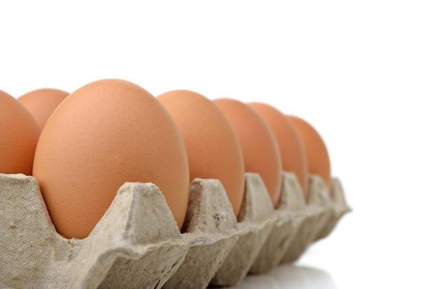 Яйца в яичной панели на белом фоне