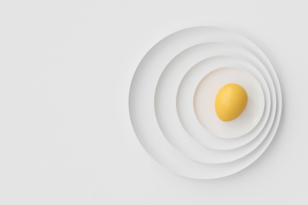 Eggs on many plates stacked together. food and health idea concept, 3d render.
