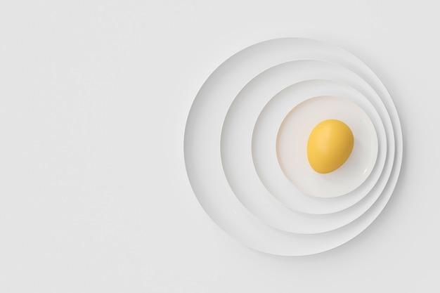 一緒に積み重ねられた多くのプレート上の卵。食品と健康のアイデアの概念、3dレンダリング。