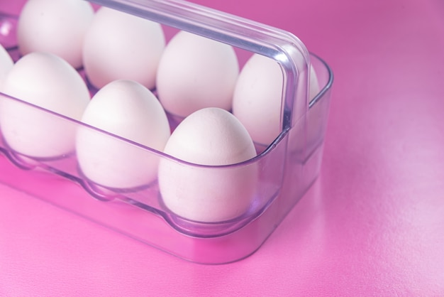 Eggs on the pink background