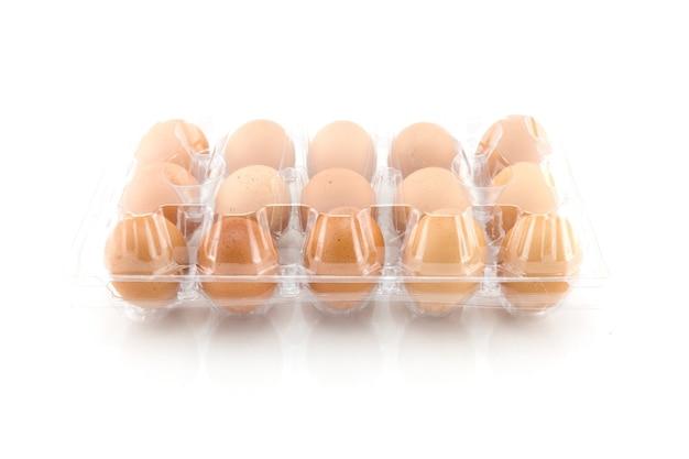 Eggs in plastic box isolated on white background, studio short