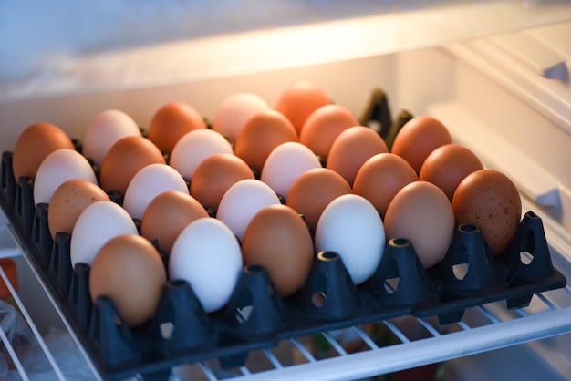 Eggs in the refrigerator for storage in box