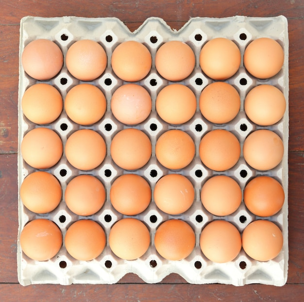 Eggs in tray, top view.