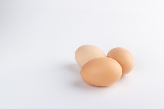Eggs on white background isolated