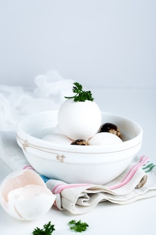 Eggs in white bowl a healthy food for gift