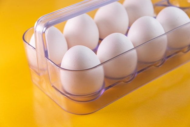 Eggs on the yellow table
