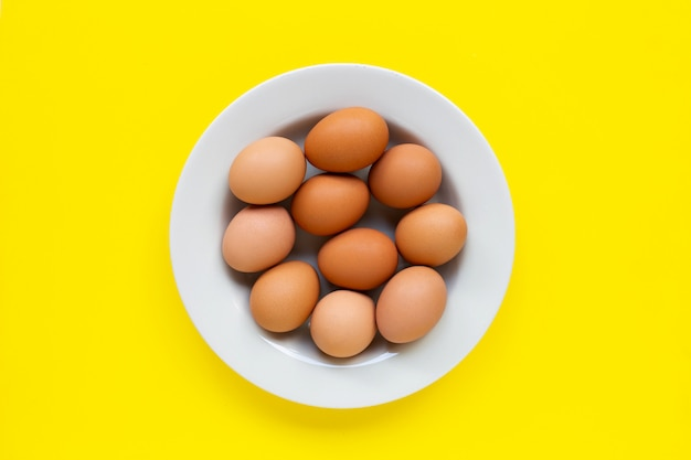 Eggs on yellow