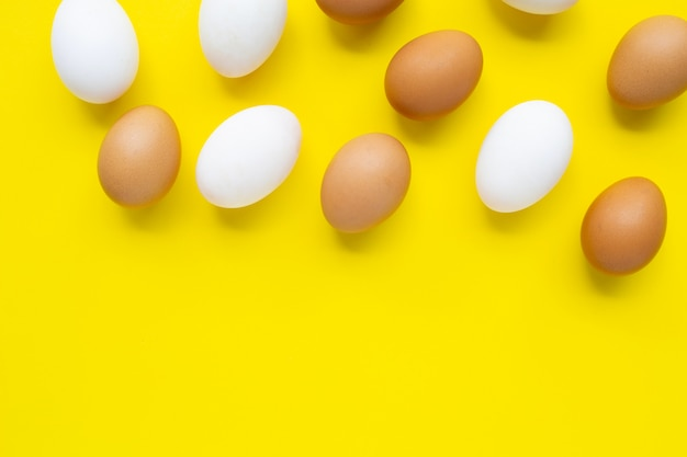 Eggs on yellow.