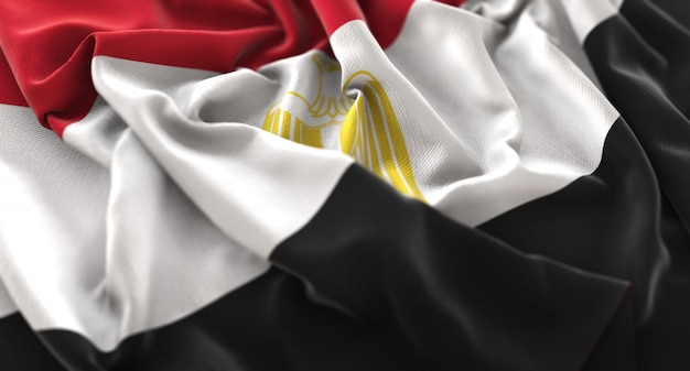 Egypt flag ruffled beautifully waving macro close-up shot