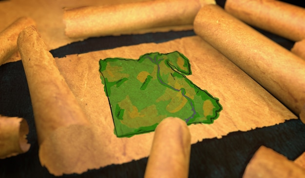 Egypt map painting unfolding old paper scroll 3d