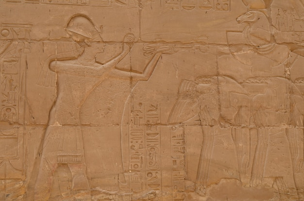 Egyptian carvings at the temple of luxor