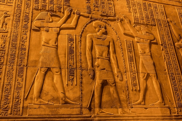 Egyptian drawings and hieroglyphs at the temple of kom ombo. in the town of kom ombo near aswer