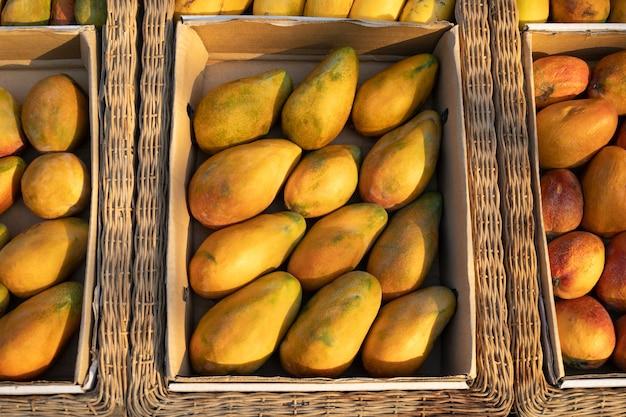 屋外ファーマーズマーケットのビーガンフードと健康的な栄養素の箱に入ったエジプトの新鮮な生の有機黄色のマンゴー...