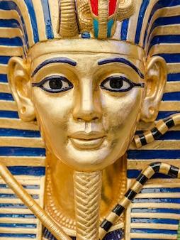 Egyptian golden pharaohs mask - travel to egypt concept , egyptian casket