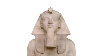 Egyptian Pharaoh stone sphynx statue replica isolated over white