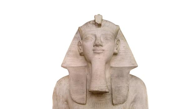 Egyptian pharaoh stone sphynx statue replica isolated over white