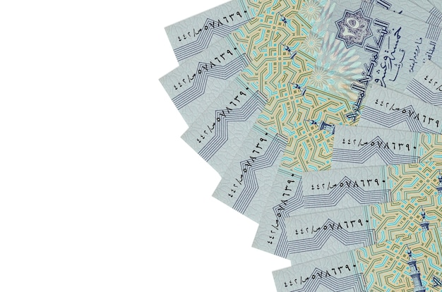 Egyptian piastres bills laying on white surface