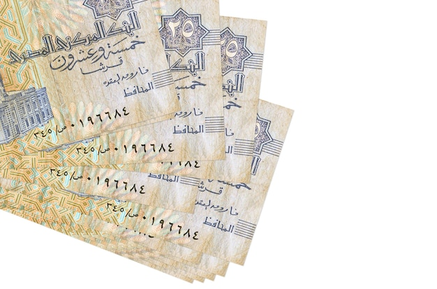 Egyptian piastres bills lies in small bunch or pack isolated on white