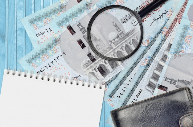 Egyptian pounds bills and magnifying glass with black purse