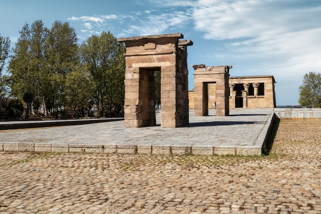 Egyptian temple of debod in the spanish city of madrid.