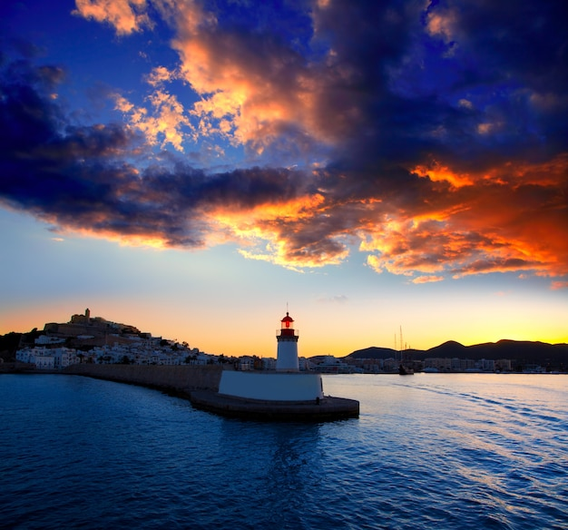 Eibissa ibiza town sunset from red lighthouse