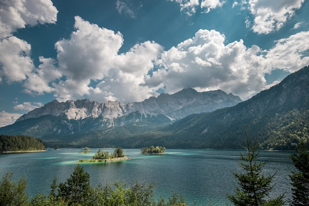 Eibsee lake and zugspitze mountain on a sunny summer day in germany
