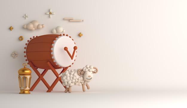 Ид аль адха исламский декоративный фон с барабанным фонарем из овец