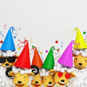 Eid al adha mubarak background with sheep party cone hat