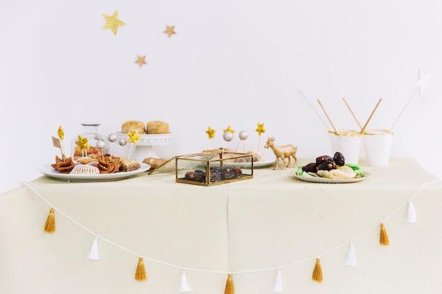 Eid al-fitr concept with arab food