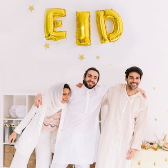 Eid concept with group of friends celebrating