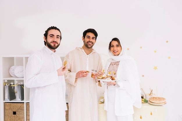 Eid concept with group of three friends