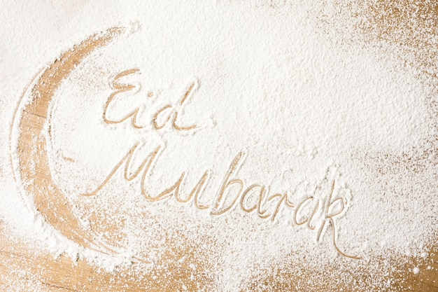 Eid mubarak inscription on flour