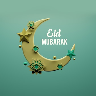 Eid mubarak islamic design crescent moon and abstract design
