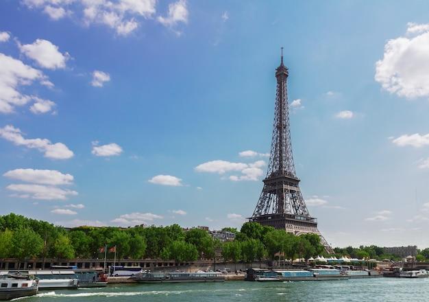 Eiffel tour over seine river, paris,  france