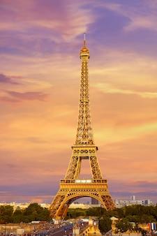 일몰 파리에서 에펠 탑 프랑스